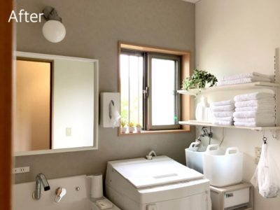 建売洗面台リフォーム|ピアラ×IKEAで半造作風の洗面台に!